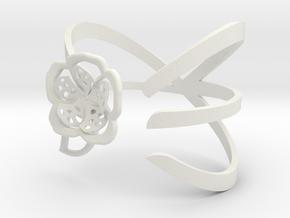 FLOWER BRACELET in White Natural Versatile Plastic: Medium