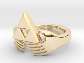 Triforce Claddagh Ring in 14k Gold Plated Brass: 5 / 49