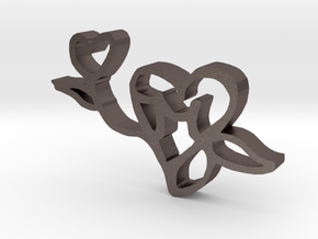 The Love Flower in Polished Bronzed Silver Steel