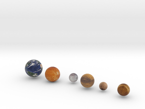 Mercury, Venus, Earth and Moon, Mars, Pluto   in Full Color Sandstone
