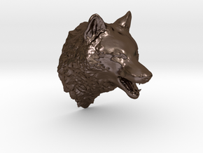 Woolf head in Polished Bronze Steel