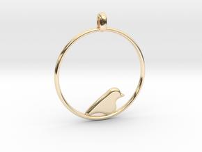 Little Bird Symbolic Pendant  in 14K Yellow Gold