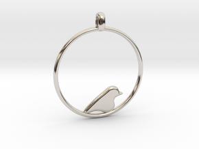 Little Bird Symbolic Pendant  in Rhodium Plated Brass