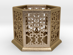 Geometric Candle Lamp in Polished Gold Steel