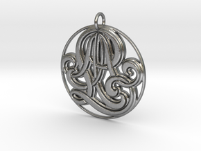 Monogram Initials AAL Pendant in Natural Silver