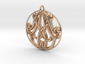 Monogram Initials AAM Pendant in 14k Rose Gold