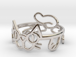 Frisky Cat Ring in Rhodium Plated Brass: 12 / 66.5