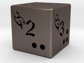 Fantasy six side dice in Stainless Steel