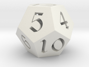 12 side fantasy style dice in White Strong & Flexible