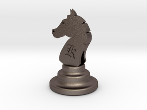 Chess Knight in Polished Bronzed Silver Steel