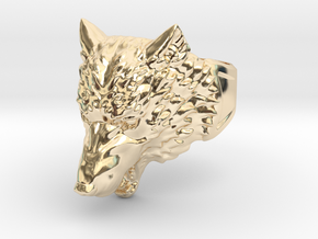 Wolf Head Ring in 14k Gold Plated Brass: 9 / 59