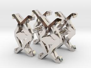 HEAD TO HEAD Union Cufflinks in Rhodium Plated Brass