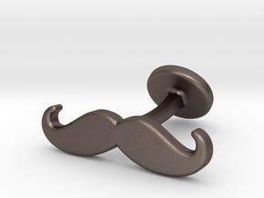 mustache cufflink in Polished Bronzed Silver Steel