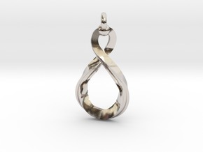 Mobius strip4 31mm in Rhodium Plated Brass