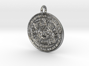 Mayan Birth Chart Pendant F in Natural Silver
