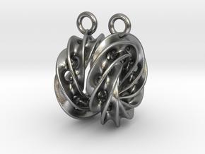 Twisted Scherk Linked 4,3 Torus Knots Earrings in Natural Silver