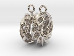 Twisted Scherk Linked 4,3 Torus Knots Earrings in Rhodium Plated Brass