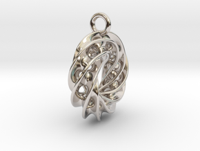 Twisted Scherk Linked 4,3 Torus Knots Pendant – Sm in Rhodium Plated Brass