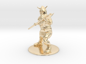 Dwarf with Bardiche Miniature in 14K Gold: 1:60.96