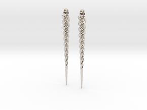 Unicorn Horn Earrings in Rhodium Plated Brass