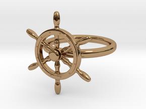 Nautical Steering Wheel Ring - US Size 08 in Interlocking Polished Brass