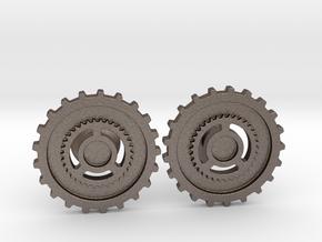 Custom Logo Cufflinks in Polished Bronzed Silver Steel