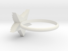 Star Ring in White Natural Versatile Plastic