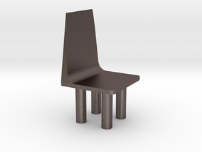 chair in Polished Bronzed Silver Steel