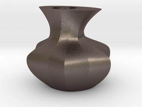vase in Polished Bronzed Silver Steel