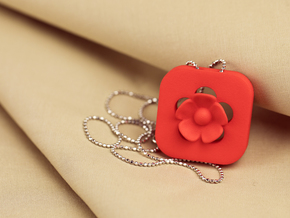 Blossom Statement Pendant  in Red Processed Versatile Plastic