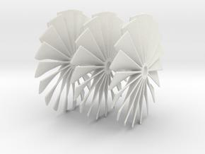 50 mm Diameter Turbo Fans for Jet Engine Assembly in White Natural Versatile Plastic