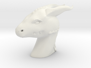 Dragon Head in White Natural Versatile Plastic: Small