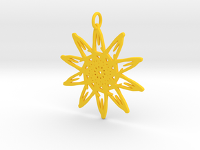 Sunflower Pendant - 46mm in Yellow Processed Versatile Plastic