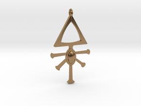 Eldar Rune Pendant 1 in Natural Brass