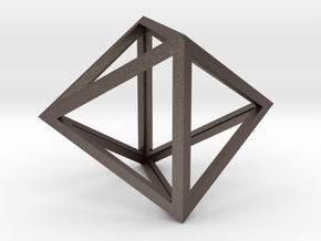 Octahedron Pendant in Polished Bronzed Silver Steel