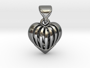 Coeur en cage in Interlocking Polished Silver