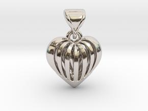 Coeur en cage in Rhodium Plated Brass
