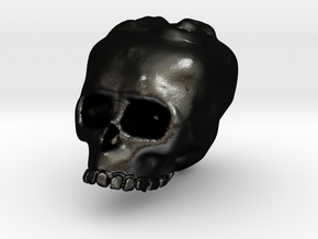 Skull13 Charm in Matte Black Steel: Small