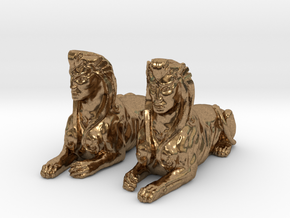 Pair of Sphinx Statues in Natural Brass