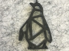 Geometric Penguin Necklace in Polished and Bronzed Black Steel