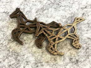 Horse Geometric Necklace in Polished Bronze Steel