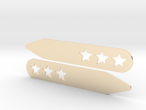 Collar stays: 3 Stars  in 14k Gold Plated Brass