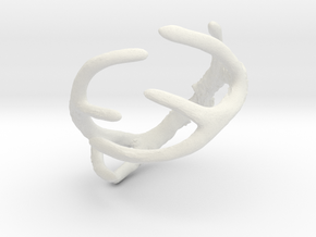 Antler Ring Size 12 - 22mm ID in White Natural Versatile Plastic