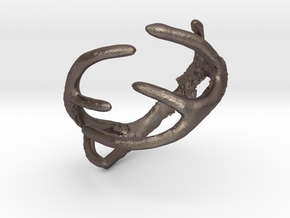 Antler Ring Size 12 - 22mm ID in Polished Bronzed Silver Steel