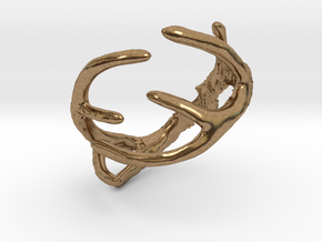 Antler Ring Size 12 - 22mm ID in Natural Brass