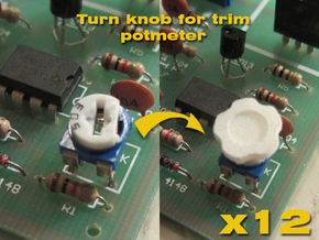 Assembly Of 12 Knobs for trimpotmeters in White Strong & Flexible