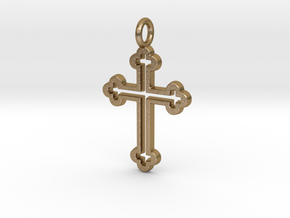 Classic Cross 3 Pendant in Polished Gold Steel
