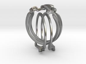 Holistic Ring interlocking metal in Interlocking Raw Silver