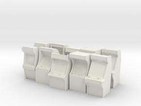 Heroic Scale Arcade Machines (x10) in White Natural Versatile Plastic