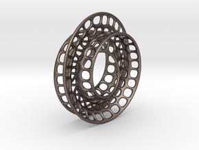 Quarter twist Möbius strip in Polished Bronzed Silver Steel